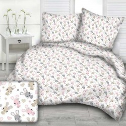 RABBITS cotton bedding with children's motif - white