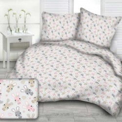 RABBITS cotton bedding with children's motif - gray