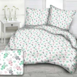 RABBITS cotton bedding with children's motif - white/turquoise
